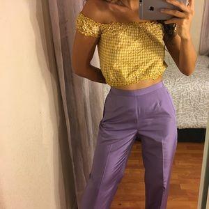 vintage lavender purple silk high waisted trousers